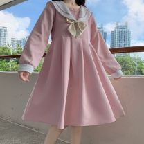 Dress Winter 2020 Pink dress (no bows), Navy Dress (no bows), collection shop free freight insurance M, L Mid length dress singleton  Long sleeves commute Admiral High waist other Socket Princess Dress routine 18-24 years old Other Korean version 51% (inclusive) - 70% (inclusive) cotton