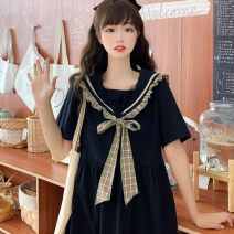 Dress Summer 2020 Black, collection shop free freight insurance Average size Middle-skirt singleton  Short sleeve Sweet Admiral Loose waist Socket A-line skirt routine Others 18-24 years old Type A Other 81% (inclusive) - 90% (inclusive) polyester fiber solar system
