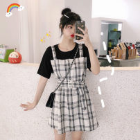 Dress Summer 2021 Picture color S,M,L,XL Short skirt Fake two pieces Short sleeve commute Crew neck High waist lattice Socket A-line skirt routine Others 18-24 years old Type A Korean version
