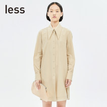 Dress Spring 2020 250 / Khaki XS S M L XL Short skirt singleton  Long sleeves commute square neck other Single breasted routine Others 30-34 years old LESS Simplicity More than 95% cotton Cotton 97% polyurethane elastic fiber (spandex) 3% Pure e-commerce (online only)