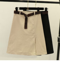 skirt Summer 2020 S,M,L,XL,2XL Apricot, black Mid length dress Versatile High waist A-line skirt Solid color Type A 51% (inclusive) - 70% (inclusive) other