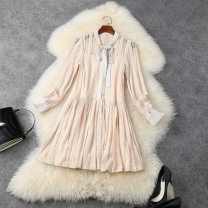 Dress Spring 2021 Black, apricot S,M,L,XL Short skirt Two piece set Long sleeves commute Crew neck middle-waisted Solid color other Pleated skirt routine Others 30-34 years old Type A LANYAYI Bowknot, stitching T11770 More than 95% Lace other