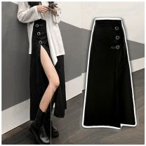 skirt Autumn 2020 S. M, l, average size Black, white, black skirt + complexion Plush pantyhose longuette commute High waist Irregular Solid color Type X 25-29 years old 30% and below brocade Other / other cotton Hollowed out, asymmetric, stitched, split lady
