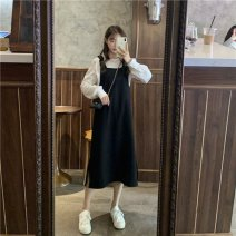 Cosplay women's wear suit goods in stock Over 14 years old Black strap skirt + shirt suit, coffee strap skirt + shirt suit, black strap skirt piece, coffee strap skirt piece, shirt piece comic S,M,L,XL Ornithine Finch