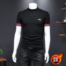 T-shirt Fashion City White, black thick M,L,XL,2XL,3XL,4XL,5XL Others Short sleeve stand collar Self cultivation Home spring Large size routine Simplicity in Europe and America Woven cloth Solid color Embroidered logo Creative interest No iron treatment