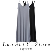 Dress Summer 2021 Black grey blue grey green apricot S M L longuette singleton  Sleeveless commute V-neck Loose waist Solid color Socket A-line skirt routine camisole 25-29 years old Lothia Korean version SHIGUANG12 More than 95% knitting other Other 100% Pure e-commerce (online only)