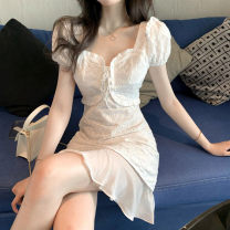 Dress Summer 2021 White skirt S M Short skirt singleton  Short sleeve commute square neck High waist Solid color Socket A-line skirt puff sleeve 25-29 years old Type A Sumeile Splicing More than 95% other Other 100% Pure e-commerce (online only)