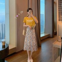 Square Dance Top Single 5-flower t pink, single 5-flower t yellow, single pink long skirt, single orange long skirt, one set of pink, one set of yellow, collection and purchase priority delivery S,M,L,XL female Short sleeve Broken flowers other