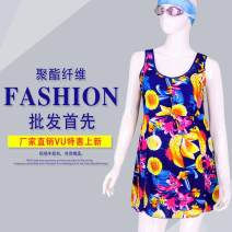 one piece  Spring, sea and sky 3XL (110-140kg), 4XL (130-160kg) Skirt one piece With chest pad without steel support Spandex, polyester female Short sleeve Casual swimsuit Solid color, grid, dots, stripes, hand drawn, letters, scenery, others backless