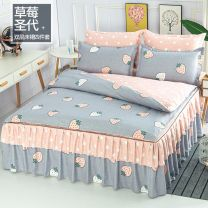 Bedding Set / four piece set / multi piece set Polyester (polyester fiber) other Plants and flowers 128x68 Polyester (polyester fiber) 4 pieces 40 1.5m (5 ft) bed, 1.8m (6 ft) bed, 2.0m (6.6 ft) bed Bed skirt Qualified products Princess style twill Reactive Print  other