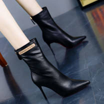 Boots 34,35,36,37,38,39 PU Other / other High heel (5-8cm) Fine heel PU Middle cylinder Sharp point cotton cotton Autumn of 2019 Side zipper Europe and America Composite bottom Solid color Knights' boots Adhesive shoes cloth Youth (18-40 years old) winter Shaving routine