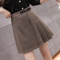 skirt Winter 2020 S is suitable for 80-94 Jin, M is suitable for 95-104 Jin, l is suitable for 105-114 Jin, XL is suitable for 115-124 Jin, 2XL is suitable for 125-140 Jin Black-571, khaki-me5, dark khaki-p14 Short skirt commute High waist A-line skirt Solid color Type A 18-24 years old E6E0C9070