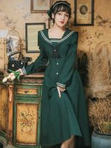 Dress Autumn 2020 Retro Green S,M,L,XL longuette Long sleeves Sweet Admiral High waist Solid color routine Others Type A GD725-2023 college