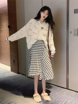 Fashion suit Autumn 2020 S,M,L,XL White sweater + skirt, black sweater + skirt 18-25 years old Other / other