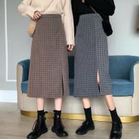 skirt Autumn 2020 S, M Mid length dress commute High waist A-line skirt lattice Type A 18-24 years old Korean version