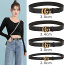 Belt / belt / chain top layer leather 2.0 (decorative belt) 3.0 (with trouser skirt) 3.4 (with trouser skirt) 3.8 (Unisex) currency belt Versatile Single loop Youth, middle age and old age Smooth button letter soft surface 3.0cm copper Bare weave embossed Plaid letter flower Winter 2020