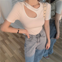 Lace / Chiffon Summer 2021 White grey black S M L Short sleeve commute Socket singleton  Self cultivation have cash less than that is registered in the accounts Crew neck Solid color other 18-24 years old Frozen mood qBDNF Korean version 30% and below Other 100% Pure e-commerce (online only)