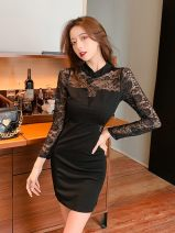 Dress Autumn 2020 black S,M,L,XL Short skirt singleton  Long sleeves commute stand collar High waist Solid color zipper One pace skirt routine Others 25-29 years old Type X Lace, stitching