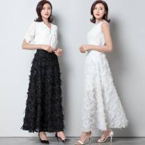 skirt Spring 2021 M [recommended weight 80-100 kg], l [recommended weight 100-120 kg], XL [recommended weight 120-145 kg], 2XL [recommended weight 145-170 kg] Black [eyelash 85CM], white [eyelash 85CM], black [eyelash 70cm], white [eyelash 70cm] Mid length dress High waist A-line skirt Other / other