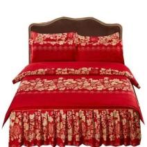Bedding Set / four piece set / multi piece set cotton Quilting Plants and flowers 128x68 Other / other cotton 4 pieces 40 1.8 bed (quilt cover 200x230), 1.5 bed (quilt cover 180x220), 1.2 bed (quilt cover 150x200), 2.0 bed (quilt cover 200x230) Bed skirt First Grade European style 100% cotton Sanding