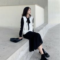Dress Autumn of 2019 White cardigan + black dress, apricot cardigan + white dress S,M,L,XL Mid length dress Two piece set Long sleeves commute V-neck Loose waist Solid color Socket A-line skirt routine Type A Korean version Bowknot, stitching 81% (inclusive) - 90% (inclusive) knitting other