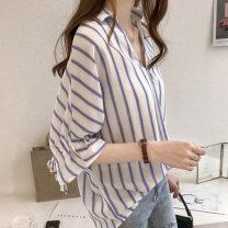 Women's large Summer 2021 commute Self cultivation elbow sleeve stripe Korean version V-neck Medium length Lotus leaf sleeve 25-29 years old Triacetate fiber (triacetate fiber) 100%
