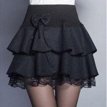 skirt Winter 2017 Short skirt Versatile High waist Fluffy skirt Broken flowers Type A 25-29 years old