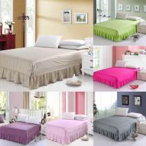 Bed skirt 100cmx190cm, 120cmx200cm, suitable for 1.2m bed, 150cmx200cm, suitable for 1.5m bed, 180cmx200cm, suitable for 1.8m bed, 200cmx220cm cotton AI Shangjia Solid color Qualified products