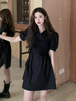 Dress Summer 2020 black S,M,L Mid length dress singleton  Short sleeve commute V-neck High waist Solid color Socket A-line skirt puff sleeve Others Type A Other / other 81% (inclusive) - 90% (inclusive)