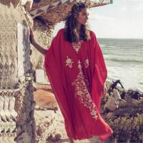 Beach pants Red and white embroidered Robe Average size female Other / other ZS984