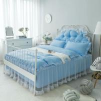Bed skirt 1.2m (quilt cover 1.5 * 2 bed skirt 1.2 * 2), 1.5m (quilt cover 1.8 * 2 bed skirt 1.5 * 2), 1.8m (quilt cover 2 * 2.3 bed skirt 1.8 * 2), 2m (quilt cover 2 * 2.3 bed skirt 2 * 2.2) Others Grey, rose, pink, sky blue, jade pink Other / other Solid color