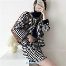 Square Dance Dress S,M,L Black and white thousand bird check top [single piece], black and white thousand bird check half skirt [single piece], top + Half skirt [suit] Long sleeves