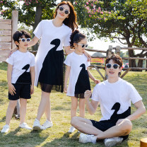 Parent child fashion White, black A family of three Female, male, neutral Other / other spring and autumn leisure time routine other suit cotton Cotton 95% polyester 5% Class A