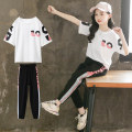 suit Other / other White, pink female summer Korean version Short sleeve + pants 2 pieces Thin money There are models in the real shooting Socket nothing other other children Learning reward Class B Other 100%