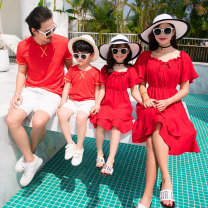 Parent child fashion Red suit, red suit B, hippo family, green suit, big leaf A family of three Male, female Other / other summer Korean version routine Solid color suit cotton L,M,S,XL,XXL Other 100% Class B L,M,XL,XXL 10, 11, 12, 13, 14, 3, 4, 5, 6, 7, 8, 9