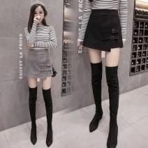 skirt Spring of 2019 S [recommended 85 Jin], m [recommended 95 Jin], l [recommended 105 Jin], XL [recommended 115 Jin], 2XL [recommended 125 Jin] Dark grey, black Short skirt commute High waist Irregular Solid color Type A D067BA060 Korean version