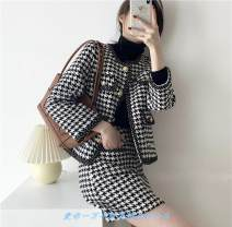 Square Dance Dress L,S,M Collection Plus purchase priority delivery, black and white thousand bird Plaid top [single piece], black and white thousand bird Plaid half skirt [single piece], top + Half skirt [suit] Long sleeves