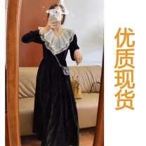 Dress Autumn 2020 Black velvet dress XS,S,M,L,XL commute 18-24 years old