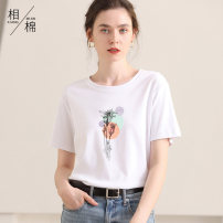 T-shirt M L XL 2XL 3XL Summer 2021 Short sleeve Crew neck easy Regular routine street cotton 86% (inclusive) -95% (inclusive) Letters for plants and flowers Xiang Mian XM801-a10 printing Cotton 95% polyurethane elastic fiber (spandex) 5% Pure e-commerce (online only) Europe and America