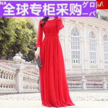 Dress Autumn 2020 White, red S,M,L,XL,XXL longuette singleton  Long sleeves street Crew neck High waist Solid color Socket other other Others 30-34 years old Type H More than 95% polyester fiber Europe and America