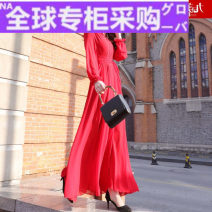 Dress Autumn 2020 Bright red S,M,L,XL,XXL longuette singleton  Long sleeves street Polo collar High waist Solid color Socket Big swing shirt sleeve Others 30-34 years old Type H Jmxhlyq352 More than 95% Chiffon polyester fiber Europe and America