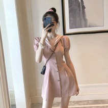 Dress Summer 2021 Picture color S M L XL Mid length dress singleton  Short sleeve commute Polo collar High waist stripe Single breasted A-line skirt puff sleeve Others 18-24 years old Jozus / jiaozhuoshi Korean version zero point three zero eight zero two 71% (inclusive) - 80% (inclusive) other