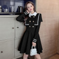 Dress Winter 2020 White, black S,M,L,XL Short skirt singleton  Long sleeves commute Polo collar High waist Solid color double-breasted A-line skirt routine Others 18-24 years old Type A Dream peach Korean version Button, zipper MXT15916