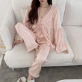Pajamas / housewear set female Other / other Average size Pink three piece suit, white three piece suit Iced silk Long sleeves sexy Leisure home autumn routine V-neck trousers Tether 3 pieces 61% (inclusive) - 80% (inclusive) 200g