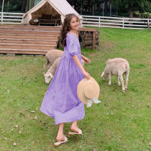 Dress Summer 2020 Purple, yellow, pink S,M,L Mid length dress singleton  Short sleeve Sweet V-neck middle-waisted Solid color Socket Princess Dress Princess sleeve 18-24 years old other princess