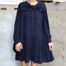 Dress Spring 2021 Tibetan blue collection shop gives small gifts, black collection shop gives small gifts, red collection shop gives small gifts S,M,L,XL longuette singleton  Long sleeves Sweet Admiral Solid color Pleated skirt routine Others Bowknot, stitching other college