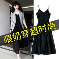 Nursing clothes Suit + skirt [suit] M,L,XL,2XL,3XL,4XL Other Socket Autumn and winter Long sleeves Medium length Original design Dress houndstooth  Side opening polyester