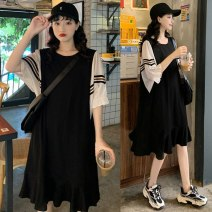 Dress Summer 2021 black L,XL,2XL,3XL,4XL Mid length dress singleton  Short sleeve commute Crew neck Loose waist Solid color Socket Ruffle Skirt puff sleeve Others Type A Korean version 81% (inclusive) - 90% (inclusive) other other