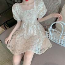Square Dance Dress S,M,L,XL Apricot, white shirt other Short sleeve puff sleeve Middle-skirt female