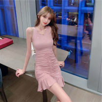 Dress Summer 2021 Naked powder S M L Short skirt singleton  Sleeveless commute Crew neck High waist Solid color Socket Ruffle Skirt camisole 18-24 years old Changtong Korean version Ruffle fold More than 95% other other Other 100% Pure e-commerce (online only)